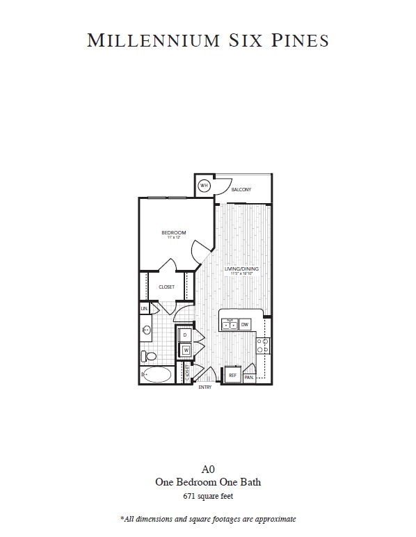 671 sq. ft. A0 floor plan
