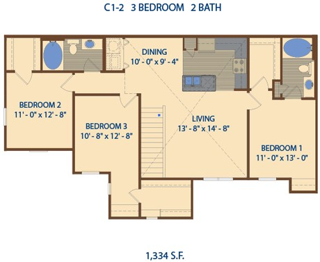 1,334 sq. ft. C2 floor plan