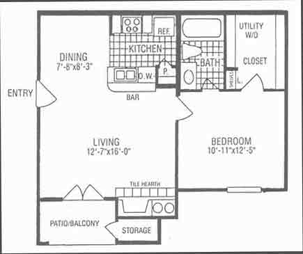 607 sq. ft. A2 floor plan