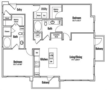 1,320 sq. ft. Sheldon Alt 4 floor plan