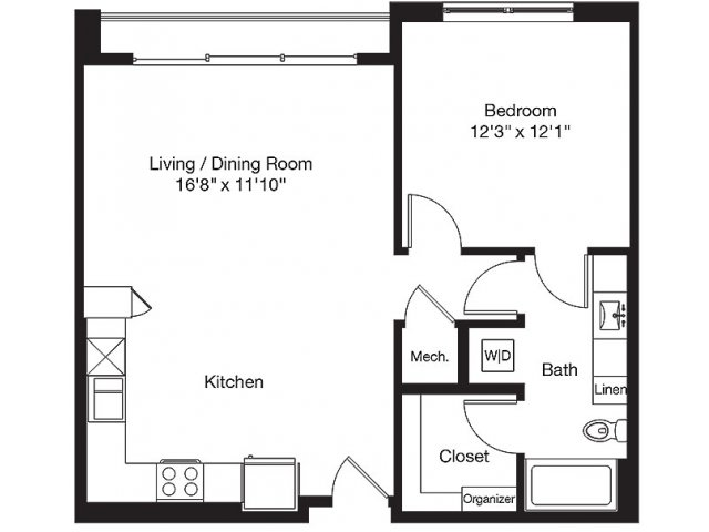 867 sq. ft. LF floor plan