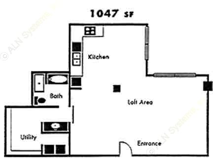 1,047 sq. ft. B7 floor plan