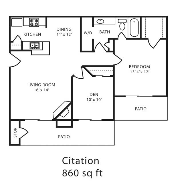 860 sq. ft. E floor plan