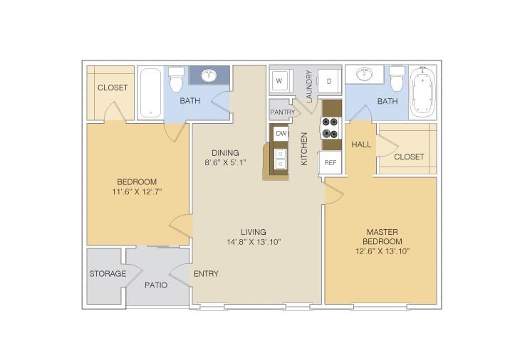 985 sq. ft. B3 LOWER floor plan