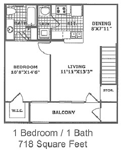 718 sq. ft. A1 60 floor plan