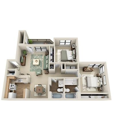 1,008 sq. ft. Magnolia floor plan