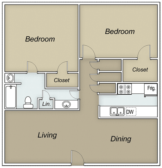 912 sq. ft. ELLINGTON floor plan