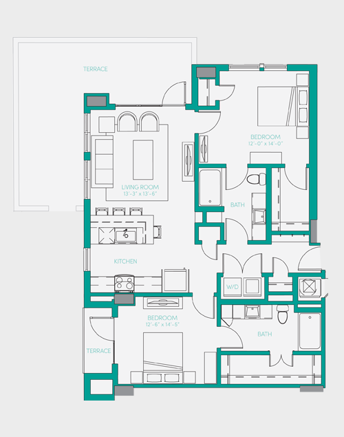 1,107 sq. ft. B2.2 floor plan