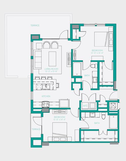 1,107 sq. ft. B2.2 floor plan