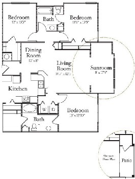 1,411 sq. ft. C1 floor plan