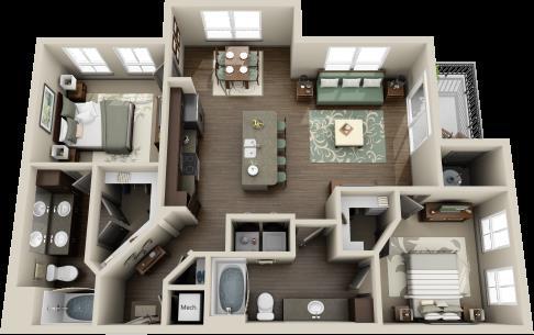 1,123 sq. ft. Brazos floor plan
