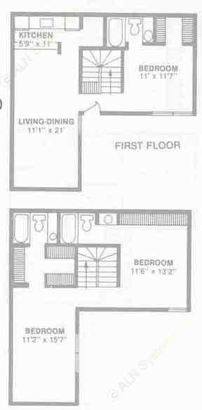 1,283 sq. ft. C1 floor plan