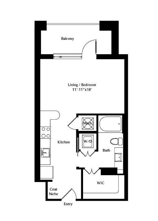 545 sq. ft. A01 floor plan