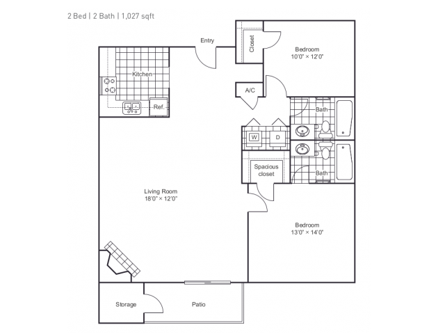 1,027 sq. ft. B3 floor plan
