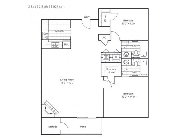 1,027 sq. ft. B3 floor plan