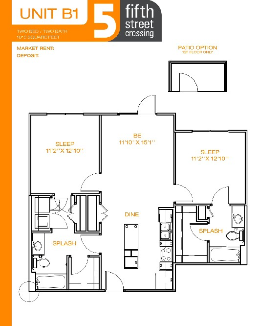 1,013 sq. ft. B1 L/W floor plan