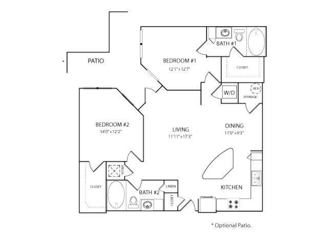 1,131 sq. ft. B1A floor plan