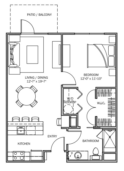 713 sq. ft. Primrose A 60% floor plan