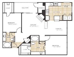 1,239 sq. ft. B3 floor plan