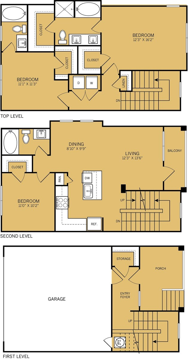 1,575 sq. ft. to 1,585 sq. ft. T2 floor plan