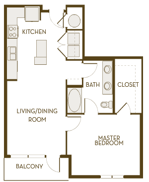 802 sq. ft. A1C floor plan