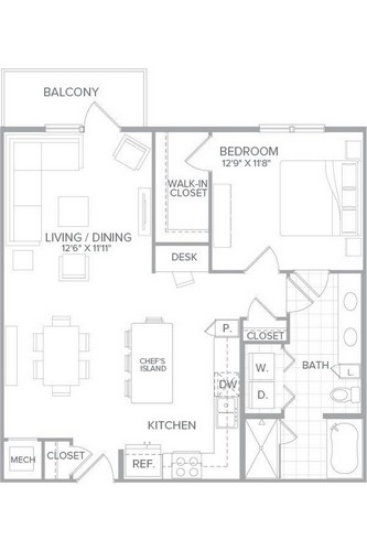 930 sq. ft. A4 floor plan