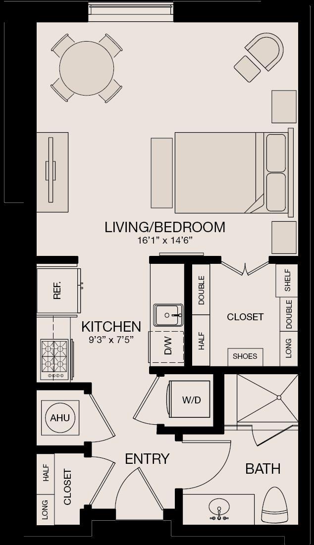 564 sq. ft. floor plan