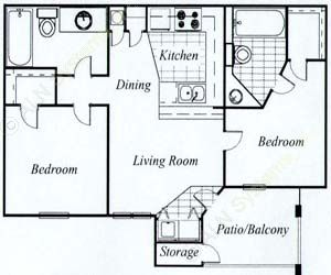 1,000 sq. ft. Maple/60 floor plan