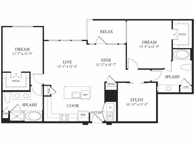1,396 sq. ft. Palazzo floor plan