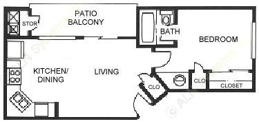 440 sq. ft. A1 floor plan