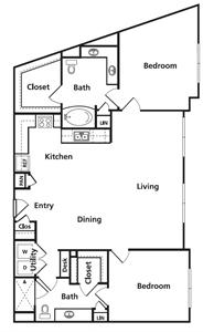 1,316 sq. ft. D3 floor plan