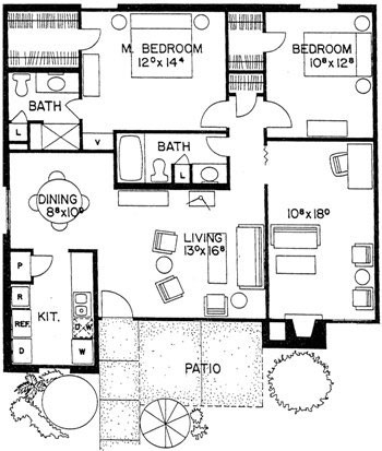 1,250 sq. ft. Ixtapa floor plan