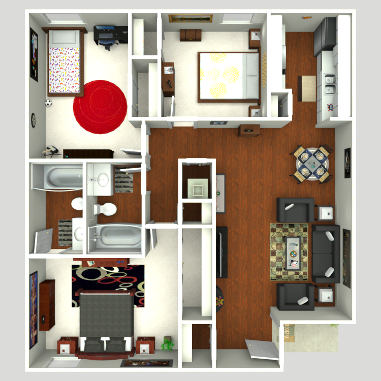1,059 sq. ft. Cedar floor plan