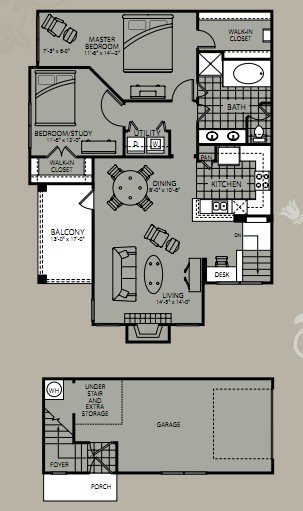 1,177 sq. ft. Callisto floor plan