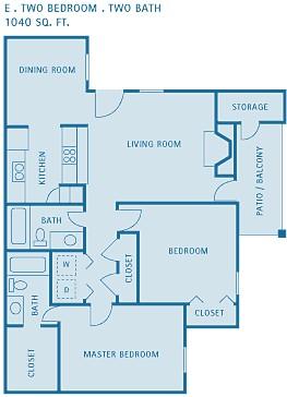 1,040 sq. ft. ELM floor plan