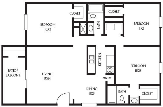 1,170 sq. ft. C1 floor plan