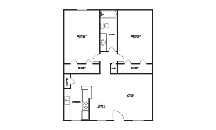 867 sq. ft. floor plan