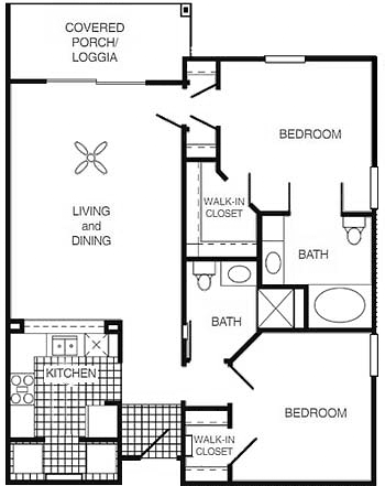 1,012 sq. ft. MKT floor plan
