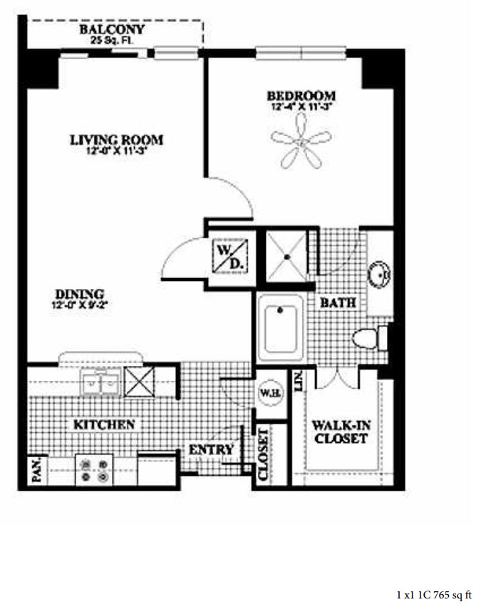 765 sq. ft. 1B/1C floor plan
