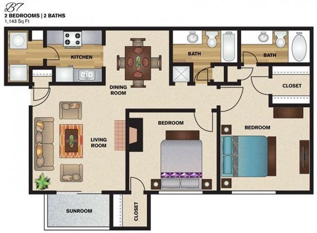 1,143 sq. ft. B7 floor plan