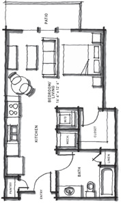 524 sq. ft. E2 floor plan