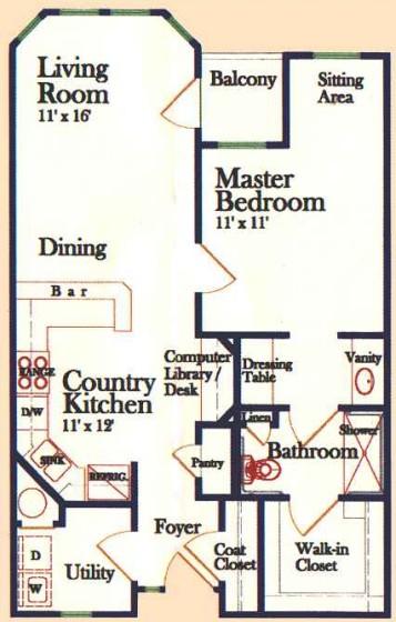 765 sq. ft. A 60% floor plan