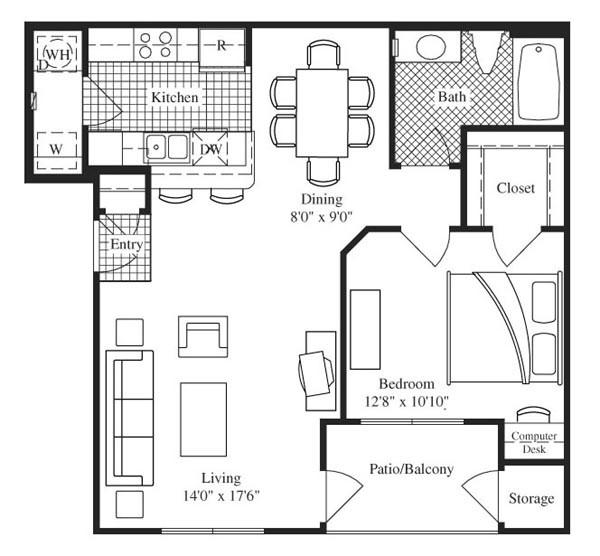 778 sq. ft. Belmont floor plan