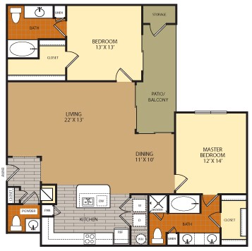 1,436 sq. ft. B3 floor plan