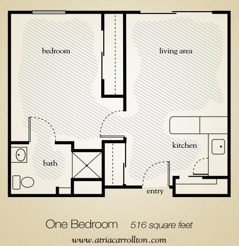 516 sq. ft. floor plan