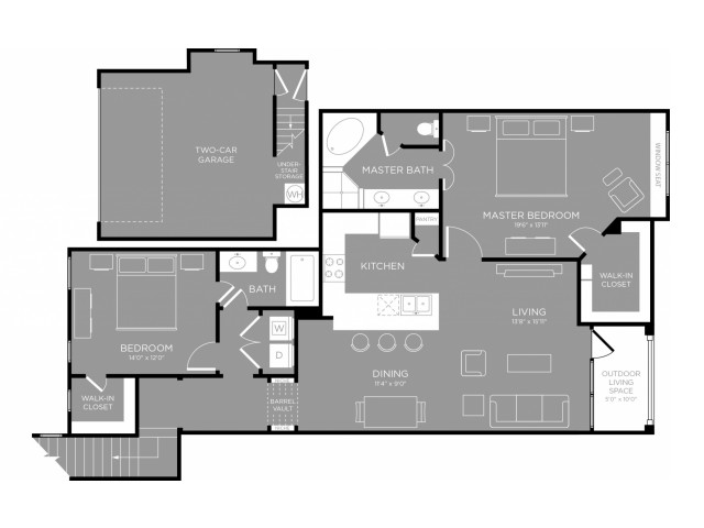1,387 sq. ft. Primrose floor plan