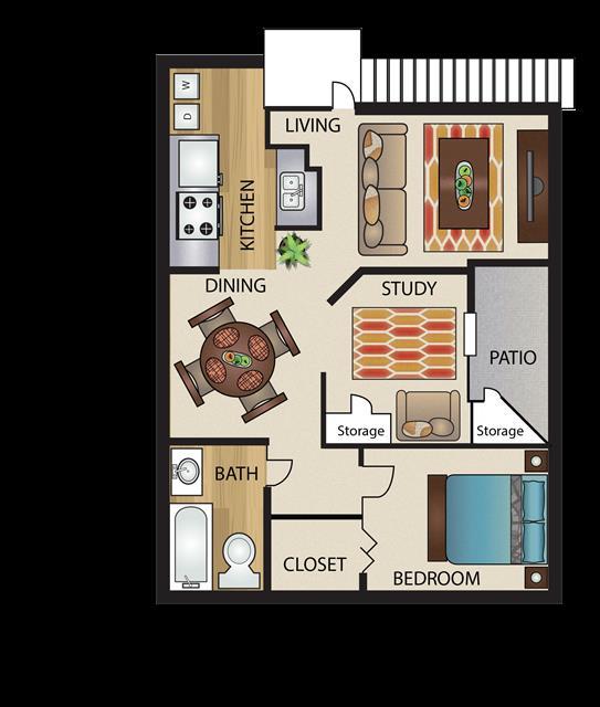 840 sq. ft. A3/A3G floor plan