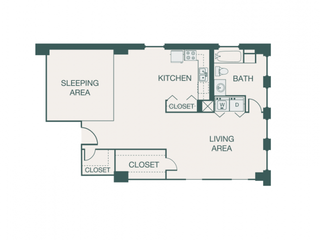 841 sq. ft. L1A floor plan