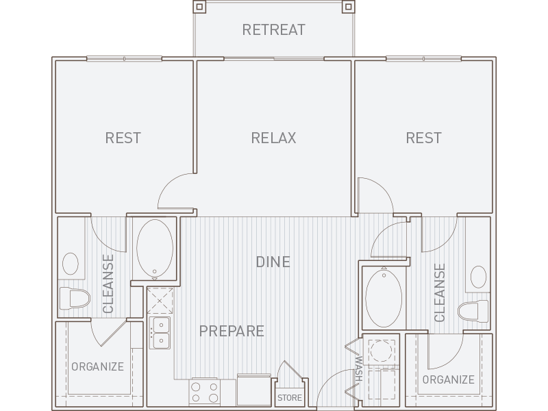 1,061 sq. ft. B1-T floor plan