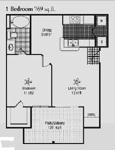 769 sq. ft. A floor plan